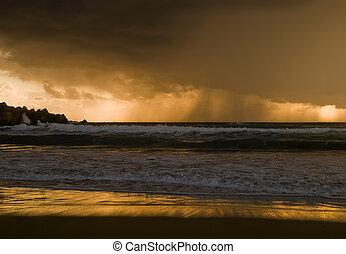 na, deszcz, horyzont