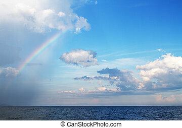 na, deszcz, morze