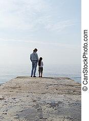 na, dziewczyny, patrzeć, morze