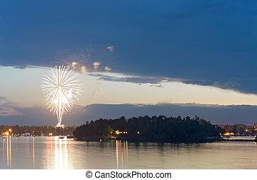 na, fajerwerki, mewa, jezioro, zmierzch