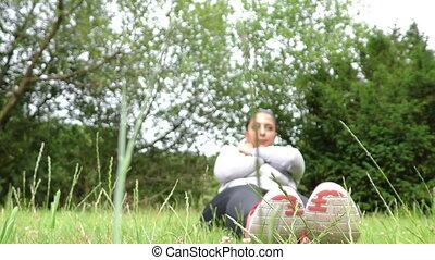 na, formation, femme, herbe, jeune