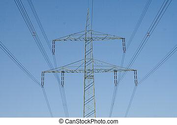 na górze, dostarczcie energii elektrycznej linę