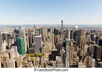 na górze patrzeć, od, miasto nowego yorku