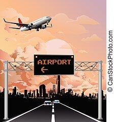 na górze, znak, lotnisko, kętnar