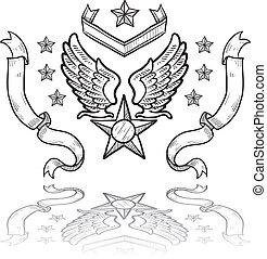 na, insygnia, wojskowy, siła, powietrze
