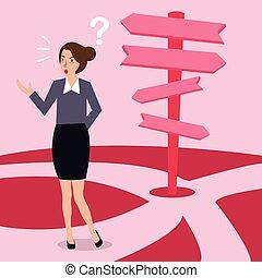 na, kierunek, pojęcie, handlowa decyzja, zażenowany, wybór, kobieta, strzała, zrobienie, przyszłość, ścieżka, droga