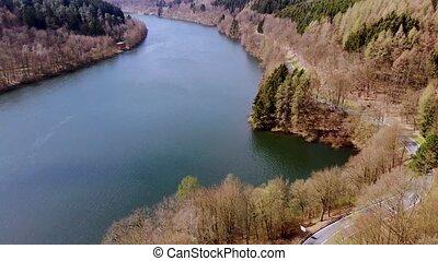 na, lot, jezioro, wiosna