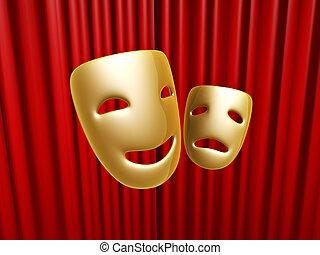 na, maski, kurtyna, komedia, tragedia, czerwony