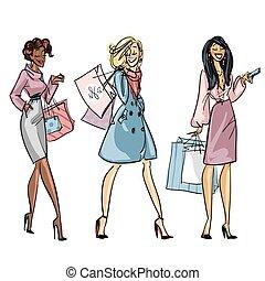 na moda, bonito, mulheres