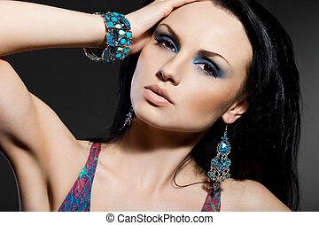 na moda, elegante, jóia, mulher