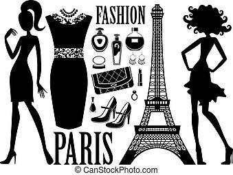 na moda, jogo, com, silhuetas, de, mulheres