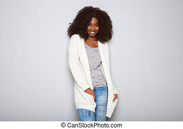 na moda, jovem, fêmea africana, modelo, posar, branco, fundo