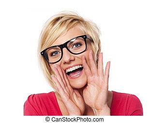 na moda, mulher, shouting