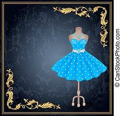 na moda, vestido, com, pontos polka, em, estilo retro, ligado, dummy.