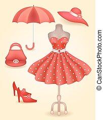 na moda, vestido, em, estilo retro, e, acessórios