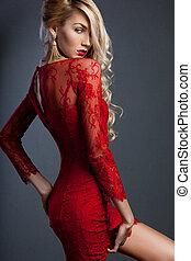 na moda, vestido, mulher, vermelho, bonito