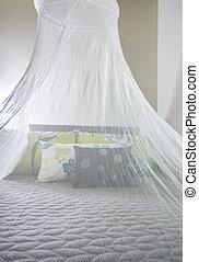 na, moskit, łóżko, filet