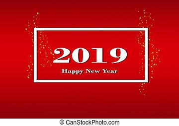 na, niejaki, czerwony, nachylenie, tło, niejaki, biały, ułożyć, z, przedimek określony przed rzeczownikami, liczba, 2019, i, na, napis, szczęśliwy nowy rok