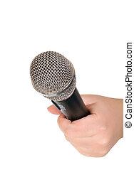na, odizolowany, microphone., samicza ręka, biały