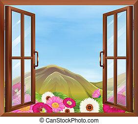 na, otwarte okno, z, kwiaty, zewnątrz