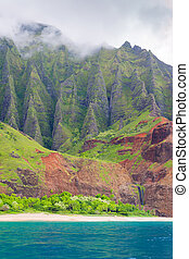 Na Pali Coast in a cloudy day