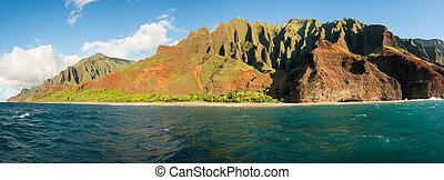 na, pali, orilla, ocaso, litoral, kauai, crucero, tomado,...