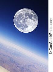 na, pełny, earth's, stratosfera, księżyc