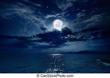 na, pełny, morze, księżyc