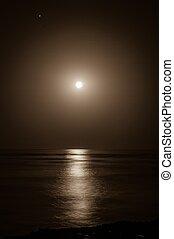 na, pełny, powstanie, morze, księżyc