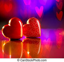 na, purpurowy, para, list miłosny, tło, serca, abstrakcyjny, czerwony