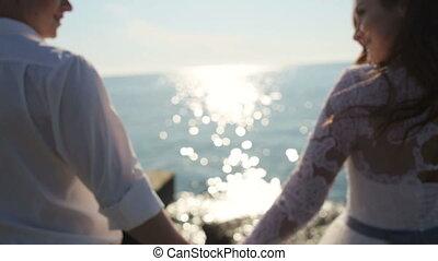 na, romantisch paar, bruidegom, tropische , bruid, getrouwd, trouwfeest, nieuw, strand