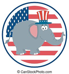 na, słoń, bandera, usa, etykieta