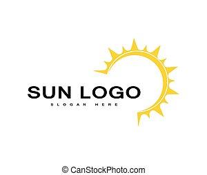 na, słońce, horyzont, logo, ikona, wektor