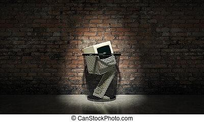 na, stary, rocznik wina, przestarzały, computer.