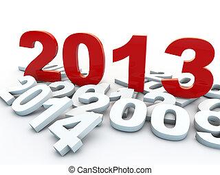na, tło, rok, nowy, biały, 2013
