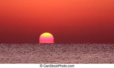 na, timelapse, -, wschód słońca, morze