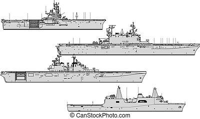 na, war., sylwetka, wektor, ships., lądowanie, zbiór, przeziębienie, statki wojenne