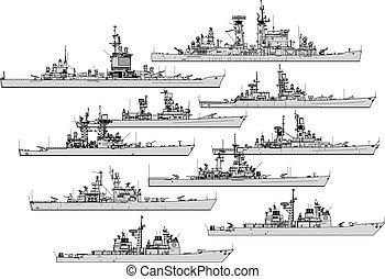 na, war., sylwetka, wektor, zbiór, cruisers., przeziębienie, statki wojenne