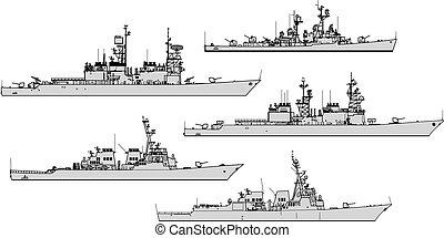 na, war., sylwetka, wektor, zbiór, przeziębienie, statki wojenne, destroyers.