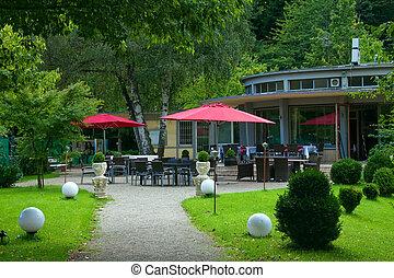 na wolnym powietrzu, baden-baden., park., europa, kawiarnia, niemcy