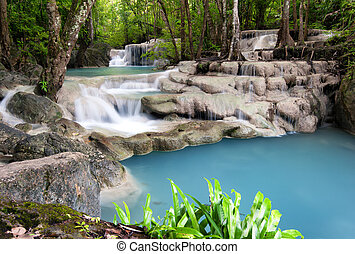 na wolnym powietrzu, fotografia, deszcz, forest., wodospad, dżungla, tajlandia