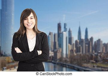 na wolnym powietrzu, handlowy, do góry, portret kobiety, zamknięcie, profesjonalny, uśmiechanie się