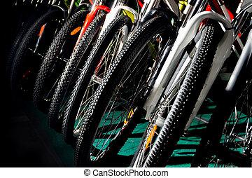 na wolnym powietrzu, kolarstwo, barwny, od-drogi, bycicles, profesjonalny