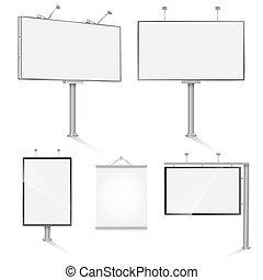 na wolnym powietrzu, komplet, ilustracja, wektor, projektować, reklama, templates.