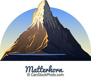 na wolnym powietrzu, mountain., obozowanie, daylight., szpice, szczyty, region., wcześnie, zermatt, climbing., pagórek, matterhorn, switzerland., valais, albo, krajobraz, podróż