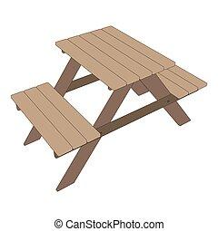 na wolnym powietrzu, piknik, ilustracja, drewniany, park ława, wektor, tło, ikona, stół