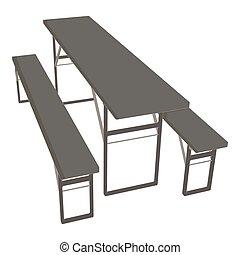 na wolnym powietrzu, piknik, ilustracja, drewniany, park ława, wektor, tło, stół, ikona