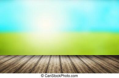 na wolnym powietrzu, render, słoneczny, drewno, zielone tło, 3d