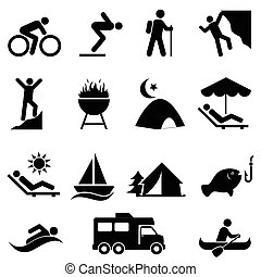 na wolnym powietrzu, wolny czas, i, rozrywka, ikony