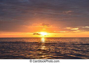na, wschód słońca, morze